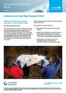 Evidence and Gap Map Research Brief: UNICEF STRATEGIC PLAN 2018–2021 GOAL AREA 2: EVERY CHILD LEARNS