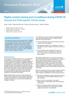 Digital Contact Tracing and Surveillance During COVID-19: General and child-specific ethical issues
