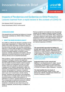 Research Brief: Impacts of Pandemics and Epidemics on Child Protection: Lessons learned from a rapid review in the context of COVID-19