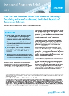 How Do Cash Transfers Affect Child Work and Schooling? Surprising evidence from Malawi, the United Republic of Tanzania and Zambia