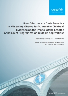 How Effective are Cash Transfers in Mitigating Shocks for Vulnerable Children? Evidence on the impact of the Lesotho Child Grant Programme on multidimensional deprivation