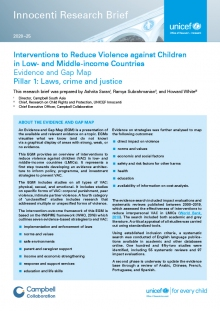 Interventions to Reduce Violence against Children in Low- and Middle-income Countries. Pillar 1: Laws, crime and justice