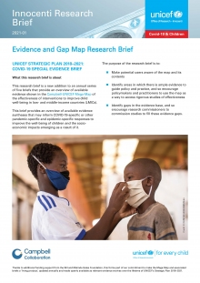 Evidence and Gap Map Research Brief UNICEF Strategic Plan 2018–2021: Covid-19 Special Evidence Brief