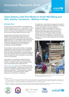 Ujana Salama: Cash Plus Model on Youth Well-Being and Safe, Healthy Transitions – Midline Findings