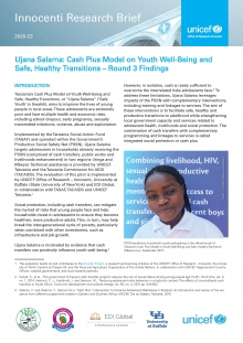 Ujana Salama: Cash Plus Model on Youth Well-Being and Safe, Healthy Transitions – Round 3 Findings