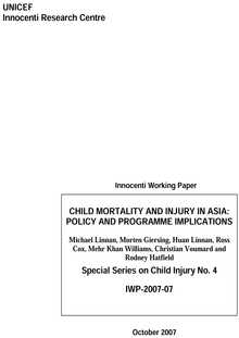 Child Mortality and Injury in Asia: Policy and programme implications