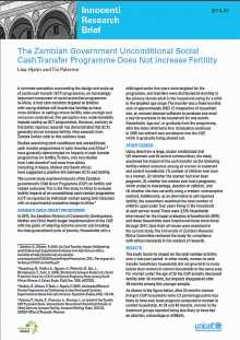 The Zambian Government Unconditional Social CashTransfer Programme Does Not Increase Fertility
