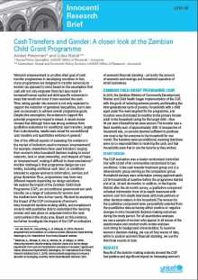 Cash Transfers and Gender: A closer look at the Zambian Child Grant Programme