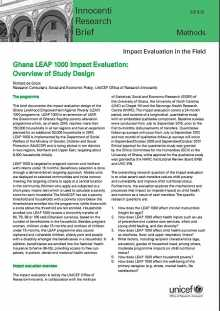 Ghana LEAP 1000 Impact Evaluation: Overview of Study Design