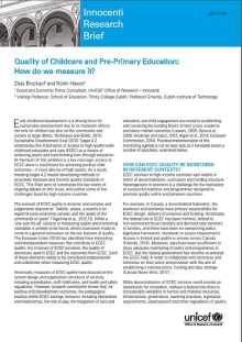 Quality of Childcare and Pre-Primary Education: How do we measure it?