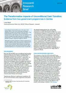 The Transformative Impacts of Unconditional Cash Transfers: Evidence from two government programmes in Zambia