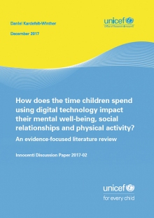 HOW DOES THE TIME CHILDREN SPEND USING DIGITAL TECHNOLOGY IMPACT THEIR MENTAL WELL-BEING, SOCIAL RELATIONSHIPS AND PHYSICAL ACTIVITY? AN EVIDENCE-FOCUSED LITERATURE REVIEW