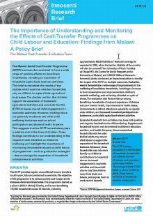The Importance of Understanding and Monitoring the Effects of Cash Transfer Programmes on Child Labour and Education: Findings from Malawi. A Policy Brief