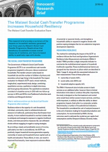 The Malawi Social Cash Transfer Programme Increases Household Resiliency